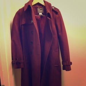 J.Crew cashmere burgundy coat - barely worn